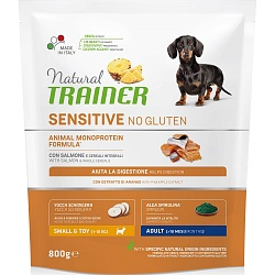 Сухой корм для собак мелких пород Trainer Natural Sensitive No Gluten Mini Adult Dog без глютена с лососем